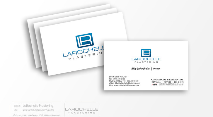 Larochelle plastering hawaii web design and development firm larochelleplastering businesscards printdesign reheart Gallery