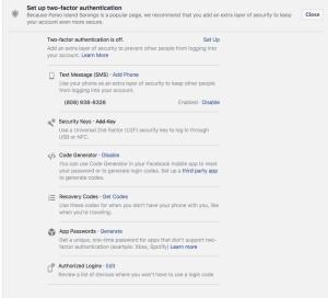 2 factor encryption Facebook Hilo Web Design